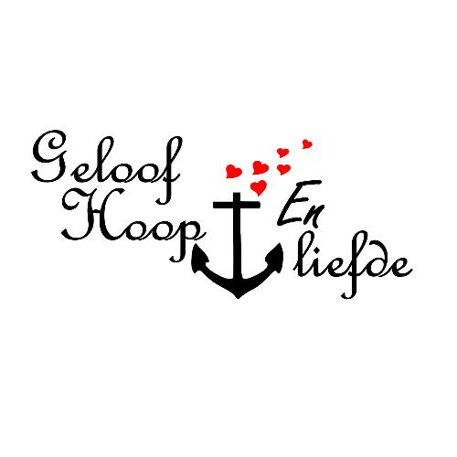 Uitzonderlijk Geloof hoop en liefde tekst met anker en hartjes afbeelding. #HL38